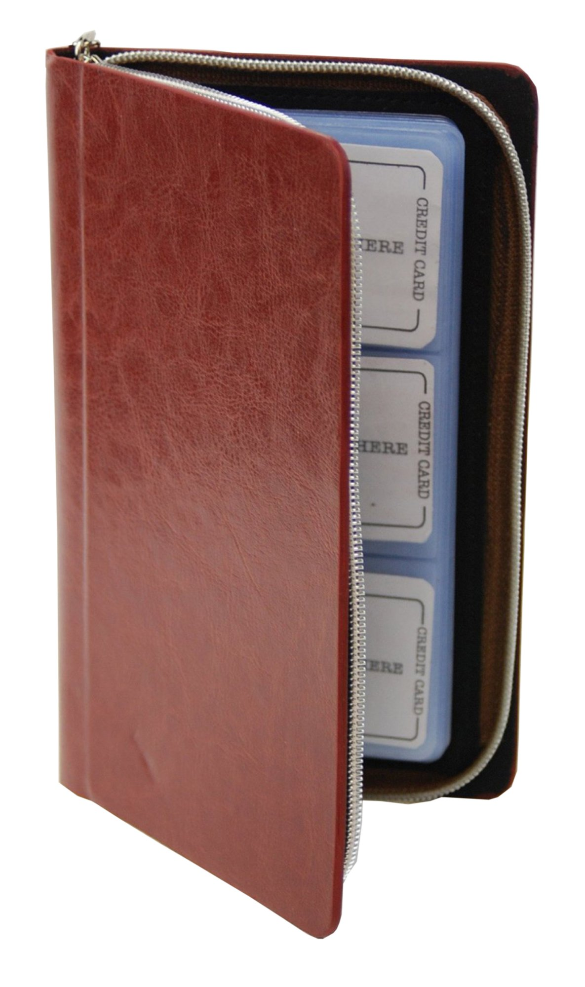Zipper Wallet Business & Credit Card Case Holder Bifold (Brown) by Marshal (Image #1)