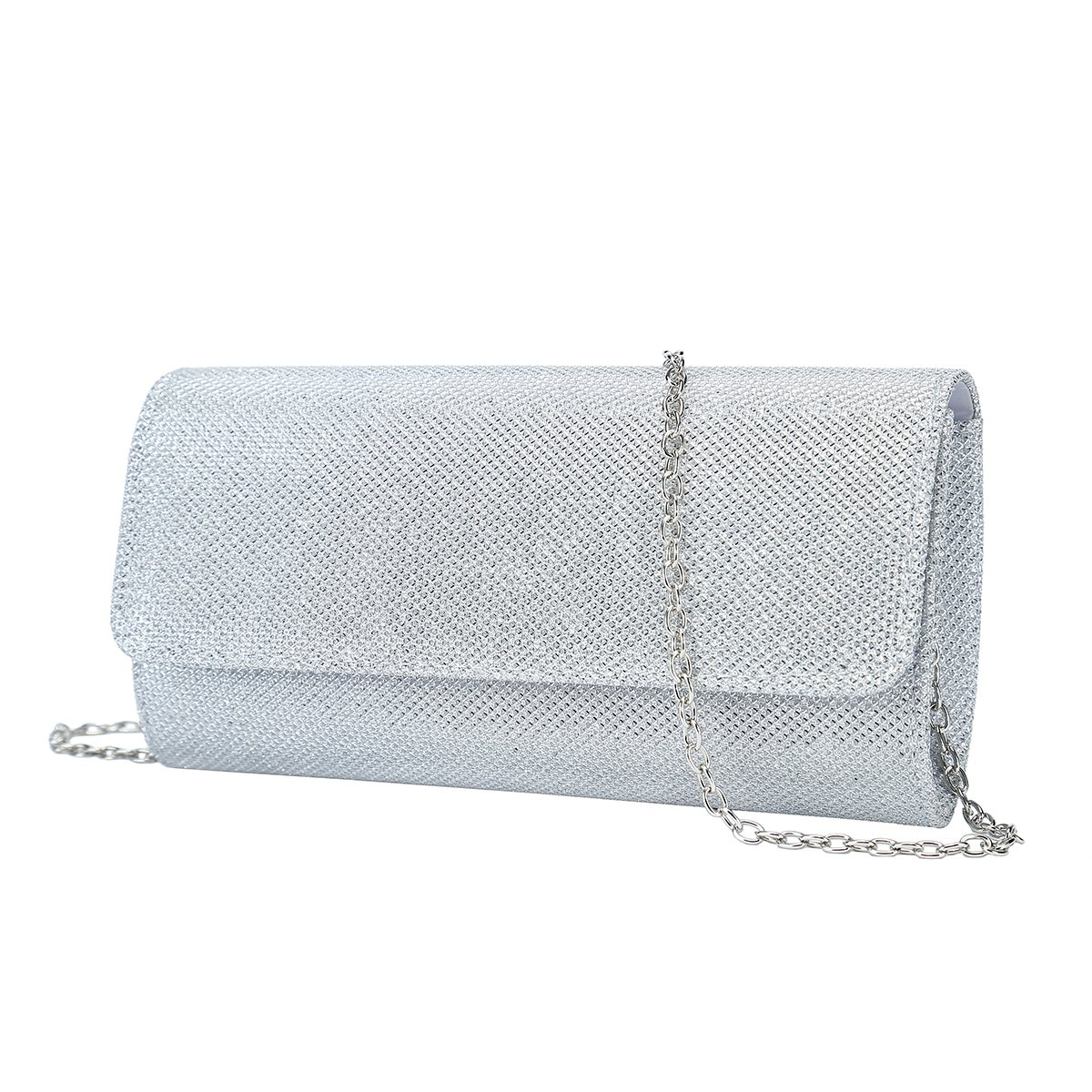 Charming Tailor Clutch Evening Bag on Chain Glitter Fashion Purses and Handbags for Women (Silver)