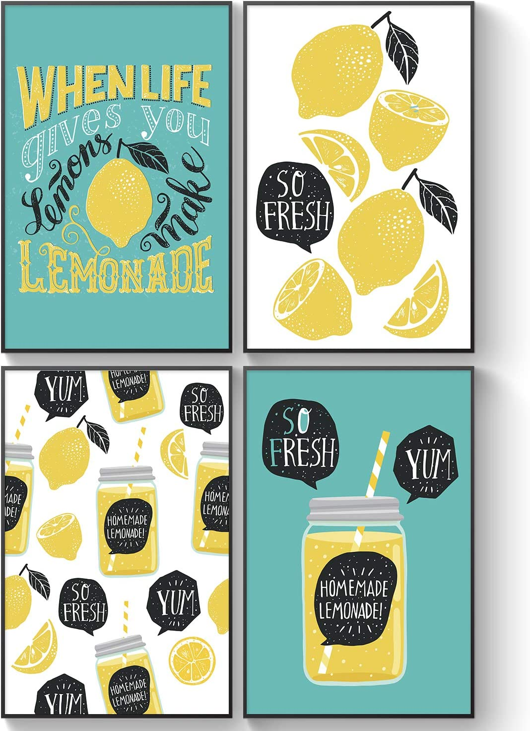Pillow & Toast Squeeze The Day: Lemonade Jar Farmhouse Vintaged-Inspired Wall Art, Set of Four, 11x17 Rustic Home Decorations