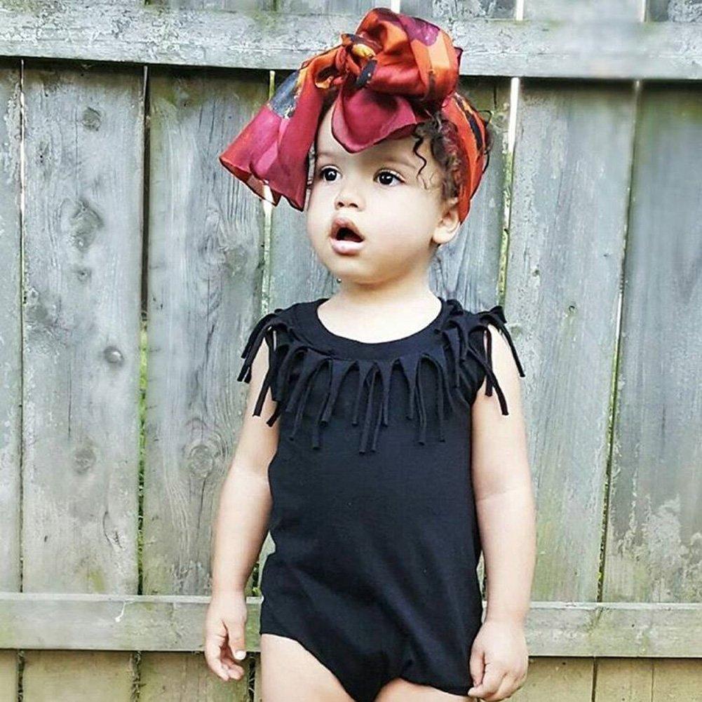 e97eb18fd Amazon.com  Honganda Cute Infant Baby Girl Sleeveless Tassel Romper ...