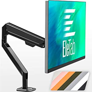 EleTab Single Monitor Desk Mount - Height Adjustable Single Monitor Stand Fits for Computer Screen 17 to 32 inches, Hold up to 19.8 lbs, Black