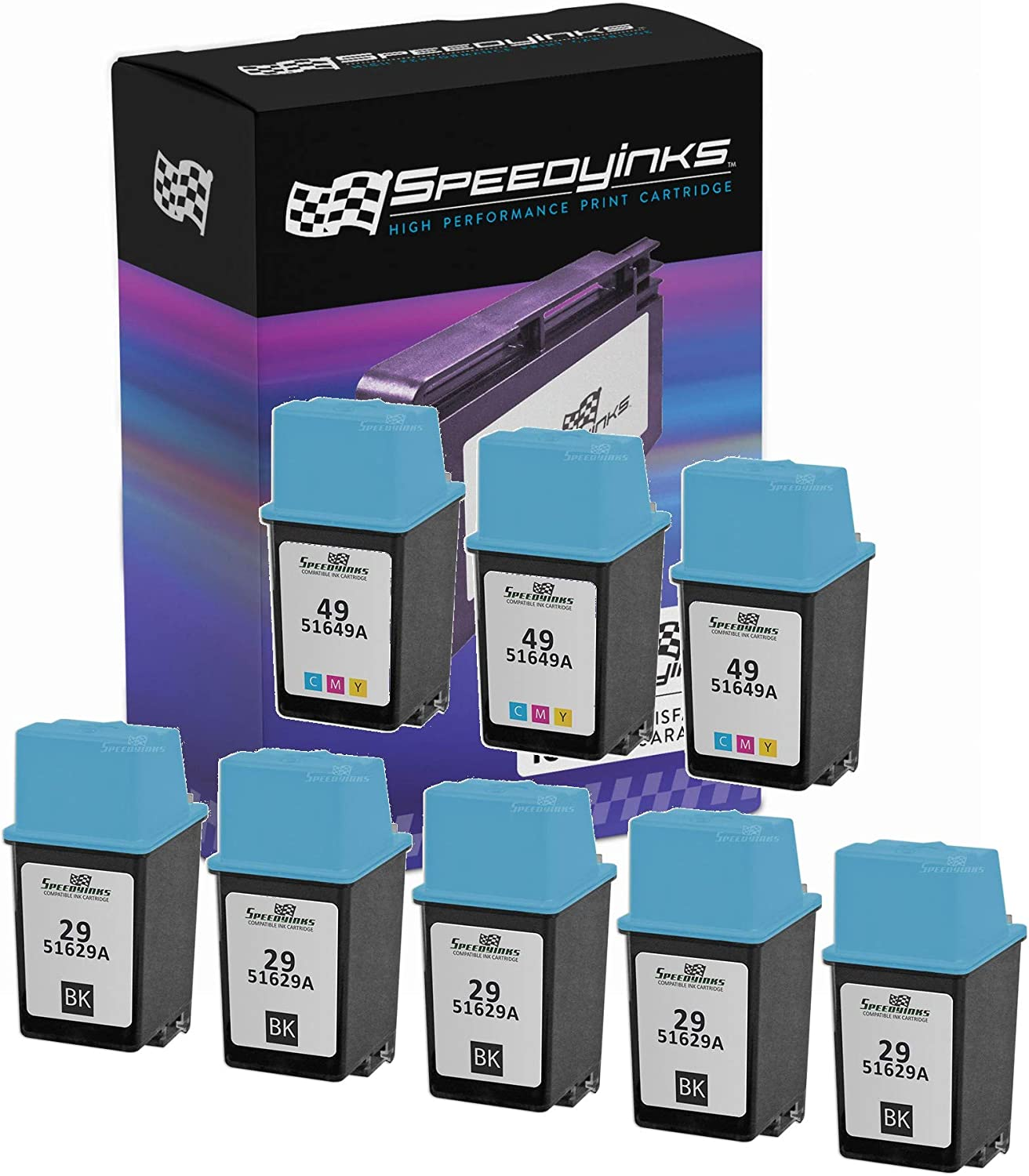 Speedy Inks Remanufactured Ink Cartridge Replacement for HP 29 & HP 49 (5 Black, 3 Tri-Color, 8-Pack)