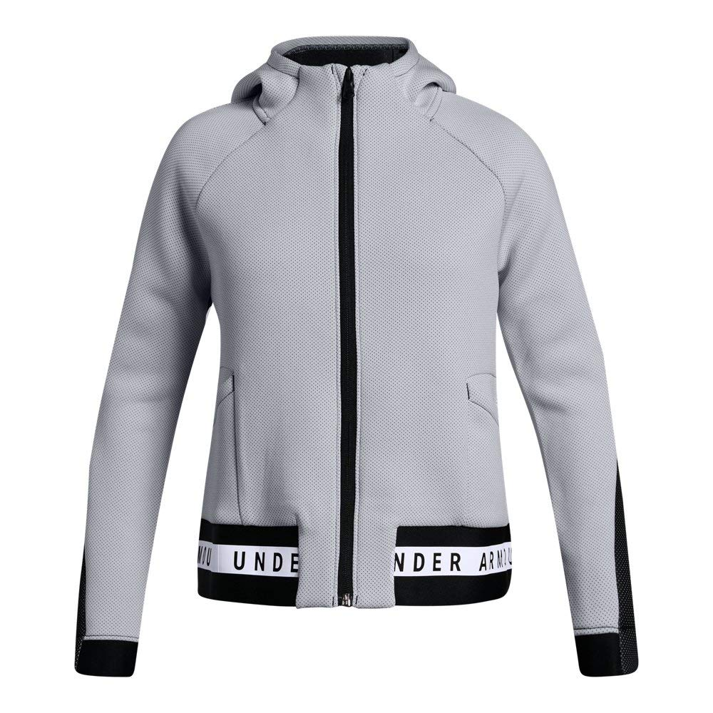 Under Armour Girls Move Full Zip, White (100)/Black, Youth Small by Under Armour