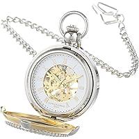 Charles Hubert 3846 - Reloj de bolsillo mecánico de dos tonos con marco de fotos