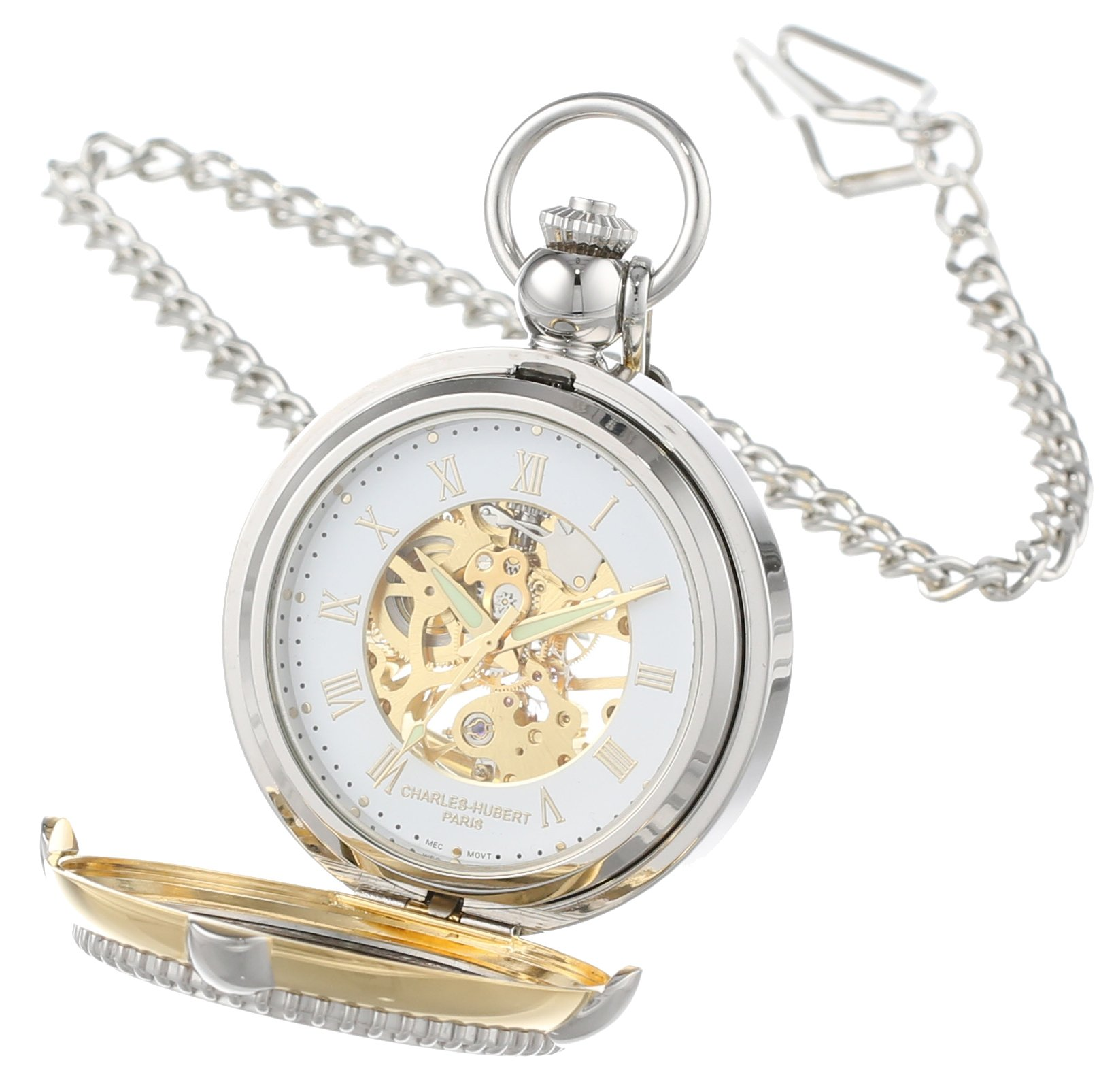 CDM product Charles Hubert 3846 Two-Tone Mechanical Picture Frame Pocket Watch big image