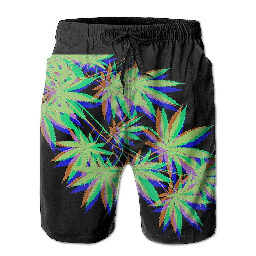 Weed Leaf Mens Swim Trunks Quick Dry Beach Board Shorts with Drawstring Pocket
