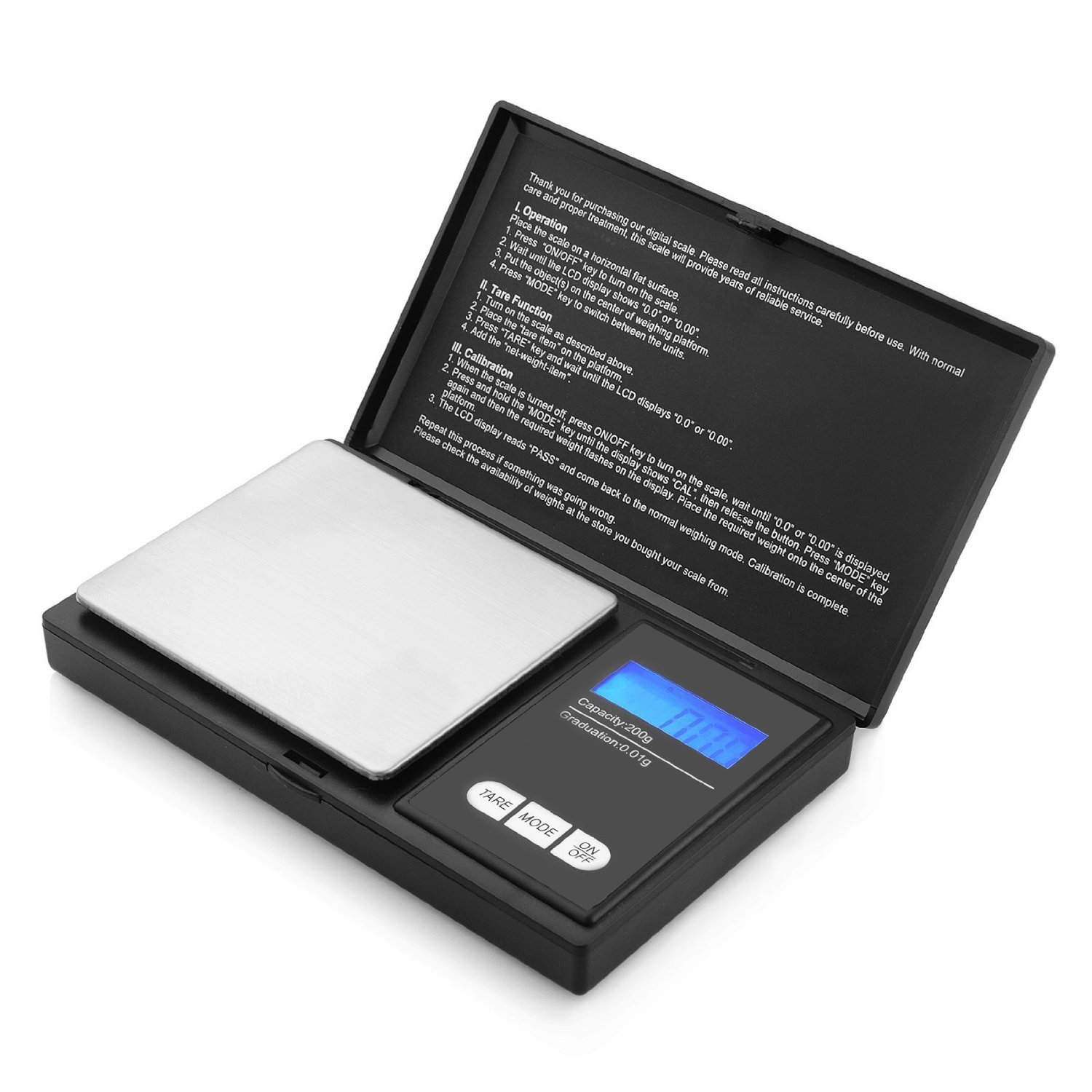 Digital Pocket Scale Akale [200g Capacity - 0.01g Accuracy] with Back-Lit LCD Screen & Tare Function - Black