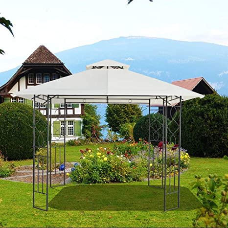 quality design 91b13 b7ade Greenbay Metal Gazebo With Steel Frame Marquee 3x3m Garden Canopy Awning  Shelter Marquee Party Tent