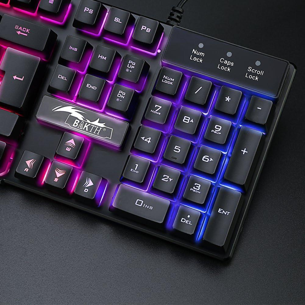 BAKTH Teclado y Ratón para Juegos, Color del Arco Iris USB LED Retroiluminada del Gaming Teclado y Ratón para Juego o Trabajo, Alto Desempeño, ...