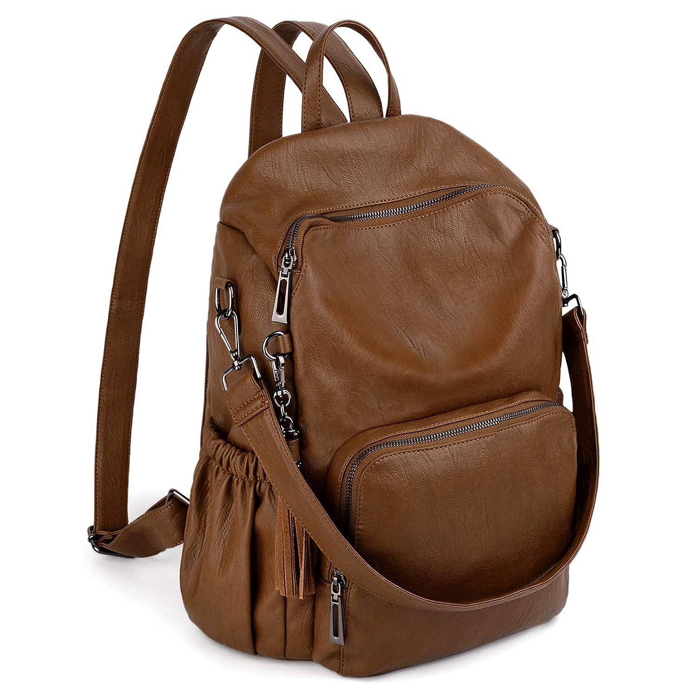 UTO ryggsäck handväska för kvinnor veganläder stöldskydd axelväska konvertibel dam laptop ryggsäck Brun