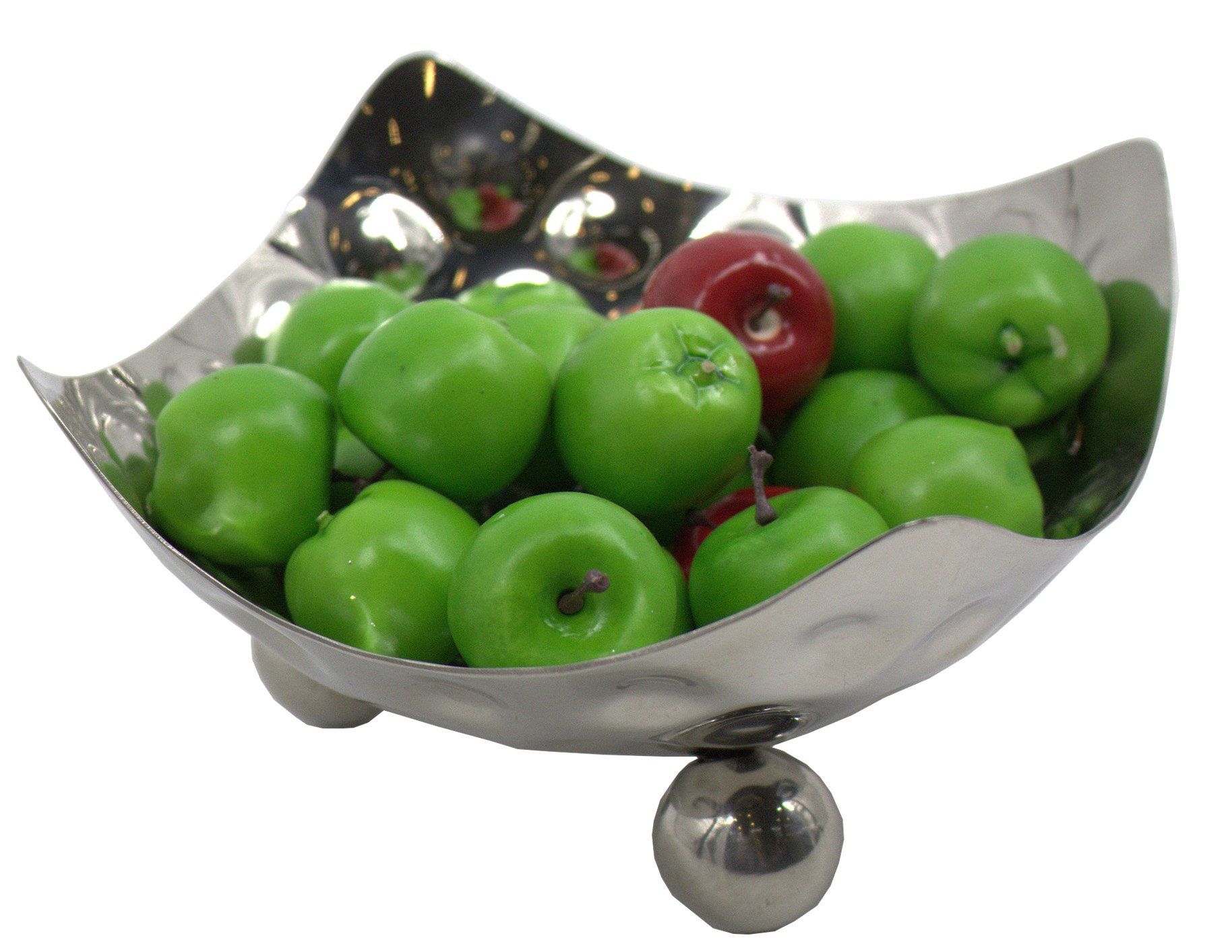 Baohao stainless steel high feet hammer fruit dish salad plate salad plate fruit bowl small food plate hotel suppliesV6