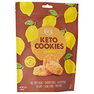 Eve's Bakery 8 Individually Wrapped Keto Cookies - Low Carb, No Sugar Vegan Treats for a Healthy Diet Diabetic Snack Food - Lemon
