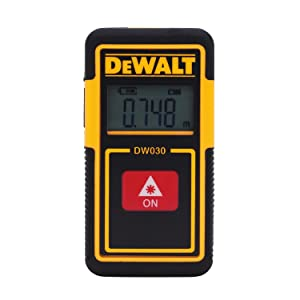 DEWALT DW030PL Lightweight Laser Distance Measurer, 30 ft Range, -1/8 in, LCD Backlit, Li-Ion Battery, Plastic
