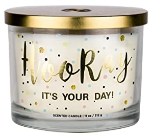 "Aromascape ""Hooray it's Your Day"" 3-Wick Scented Candle (Vanilla Frosting and Almond Milk), 11-Ounce"