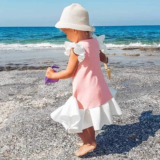 Luckycat Vestido para Bebés, Falda Plisada Floral Imprimir Vestido Niña Vestido de Fiesta Sin Manga Princesa Falda con Volantes Ropa de Bebe niña Verano ...