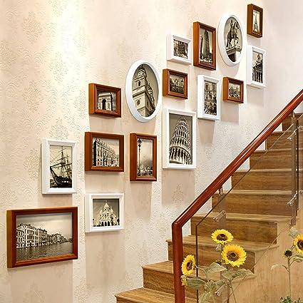 Marco De Fotos Conjunto De Pared Escaleras Collage Marcos De Madera - Cuadros-para-escaleras