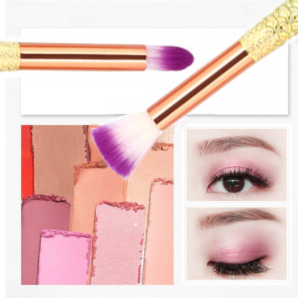 Eye Makeup Brushes 10 Pcs Mermaid Makeup Brush Set Eyeshadow Eyeliner Lip Eyebrow Blending Professional Eye Brush With Silky Soft Bristles
