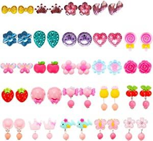 HaiMay 24 Pairs Clip on Earrings Girls Play Earrings for Party Favor, All Packed in Clear Boxes