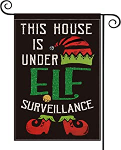 AVOIN This House is Under Elf Surveillance Garden Flag Vertical Double Sized, Christmas Winter Holiday Hat Shoes Bell Yard Outdoor Decoration 12.5 x 18 Inch