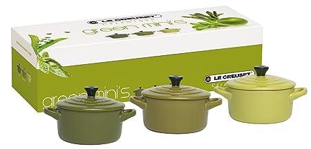 LE CREUSET - Set de 3 Mini Cocottes Gres, Color Verde de Cerámica ...