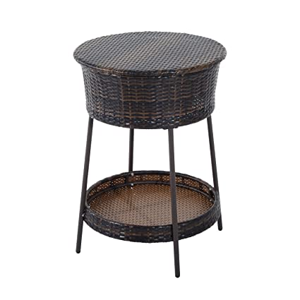 Superbe Outsunny Outdoor Patio Rattan Wicker Ice Bucket Cooler With Lid