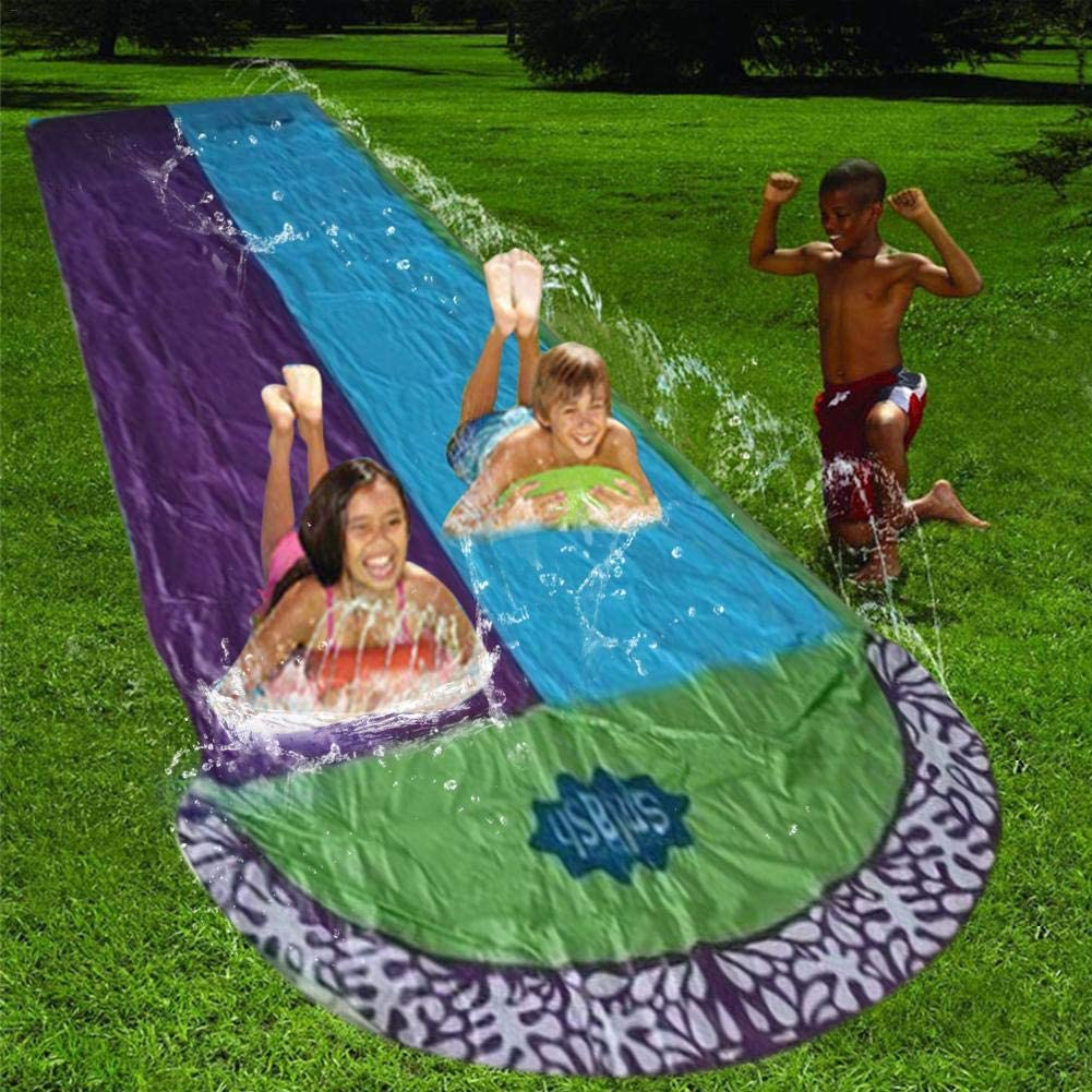 Water Slip And Slide,Lawn Water Slides Rainbow Silp Slide For Kids Children Lawn Garden Play Swimming Pool Games Outdoor Party Water Toys