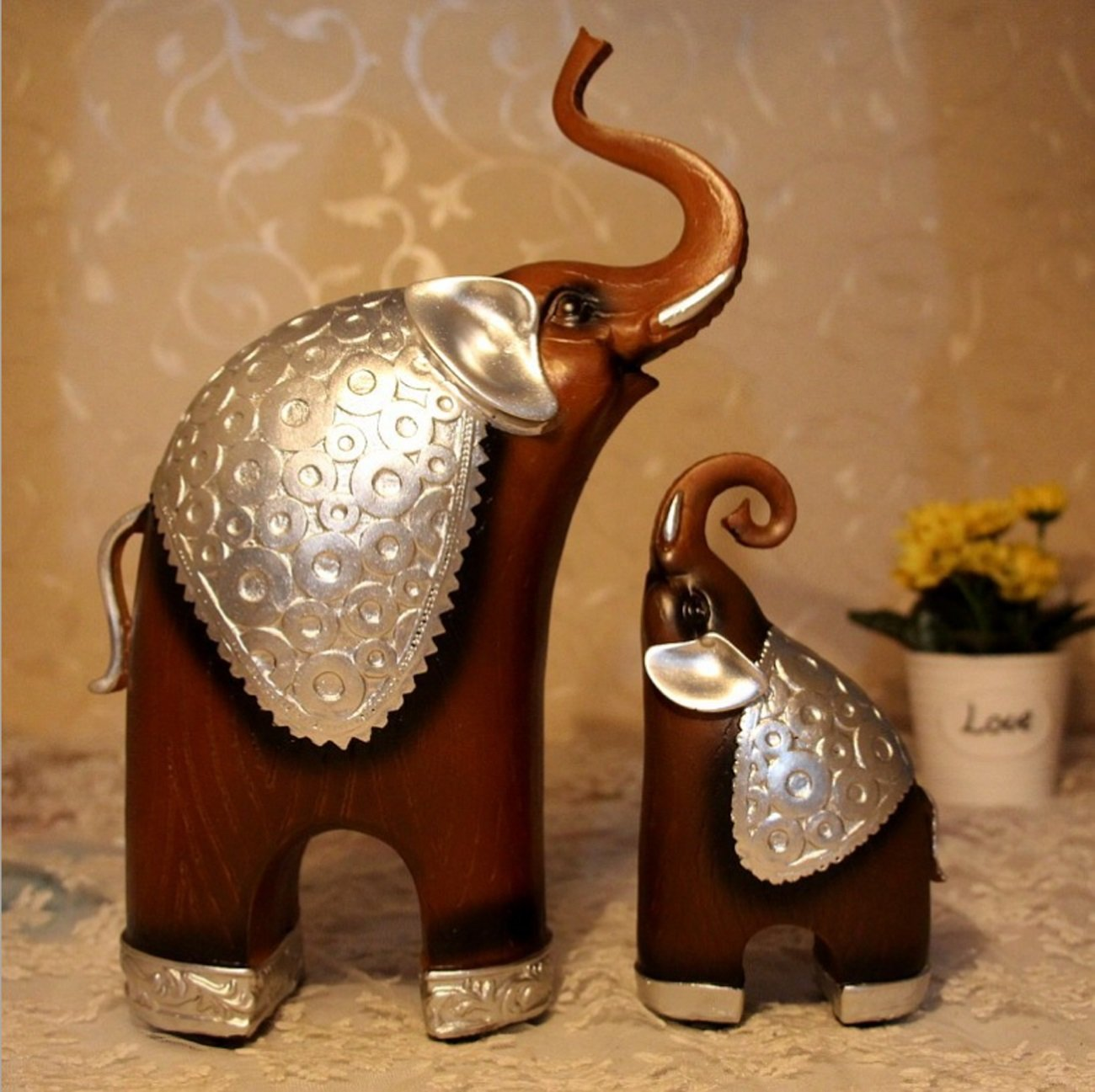 Living Room Home Furnishings Wood grain Elephant Ornaments Creative Resin Decorative Crafts by LHFJ (Image #2)