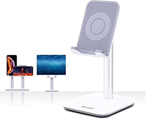 Upgraded Version Desktop Cell Phone Stand Tablet Holder, Height and Angle Adjustable Phone Holder Dock, Compatible with Tablet Up to 10.5 Inch (White)