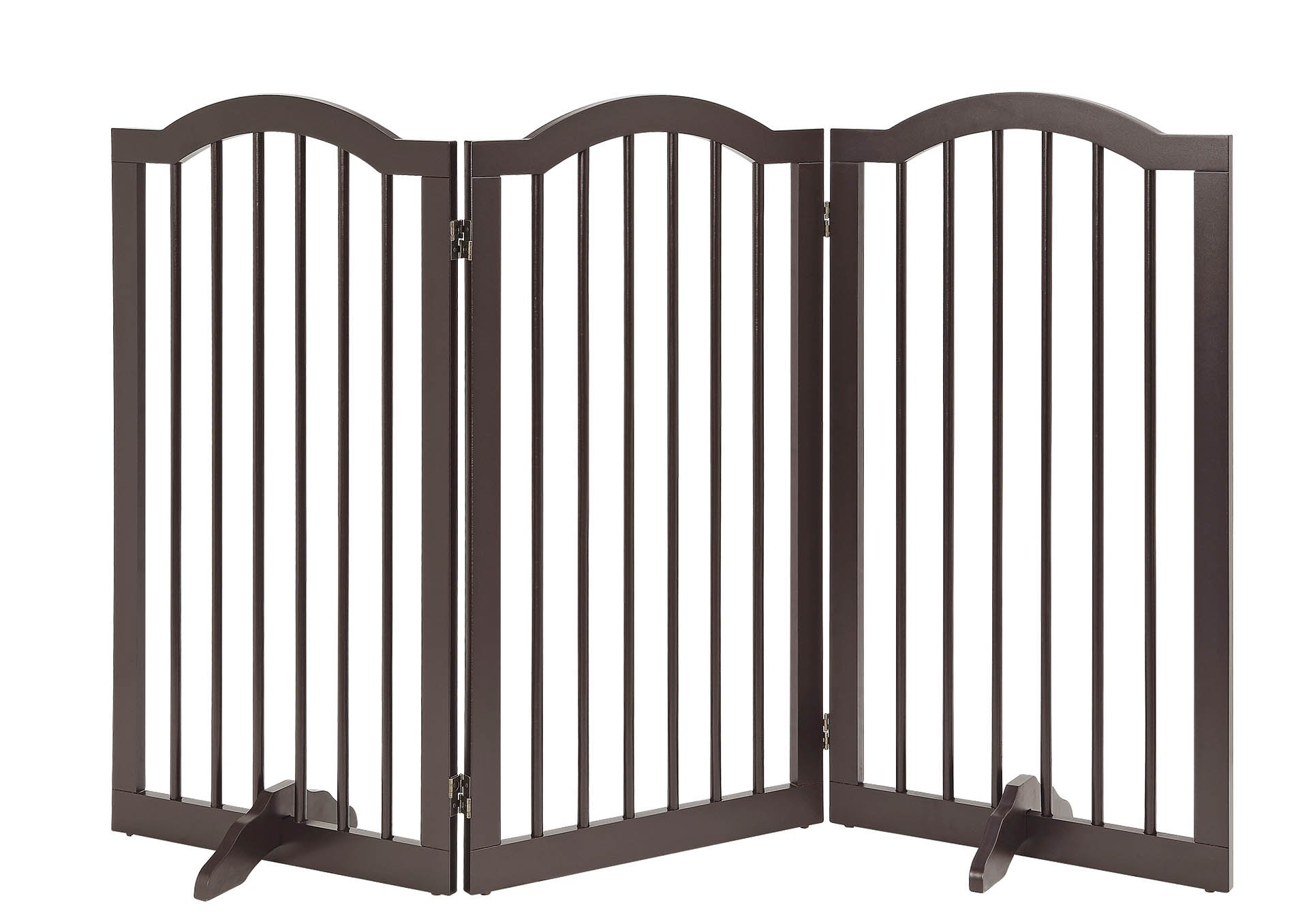 unipaws- Freestanding Arch 36'' Tall Dog Gate w/Support Feet (Espresso) | Up to 60'' Wide | Assembly-Free | Sturdy Wooden Structure | Foldable Design