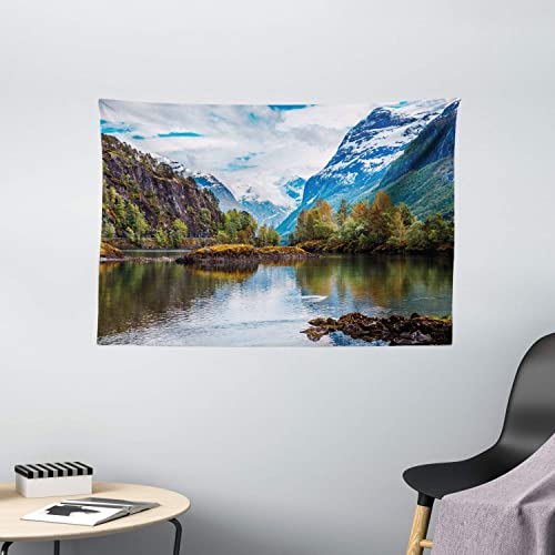 Ambesonne Nature Tapestry, Norway Mountain Range with Snowy Peaks by The Lake Fishing Nordic Northern Landscape, Wide Wall Hanging for Bedroom Living Room Dorm, 60 X 40 , Blue Brown