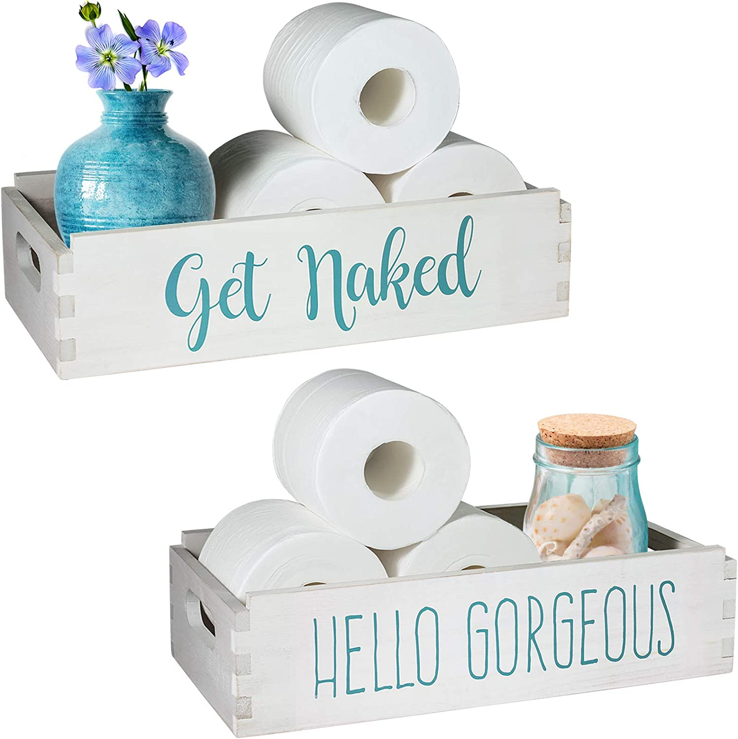 TJ.MOREE Get Naked/Hello Gorgeous Bathroom Decor Box Home Decor Clearance Farmhouse New Home Housewarming Gift Makeup Table Coastal Decor Box