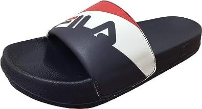 White/Navy Slides Flip Flops Sandals