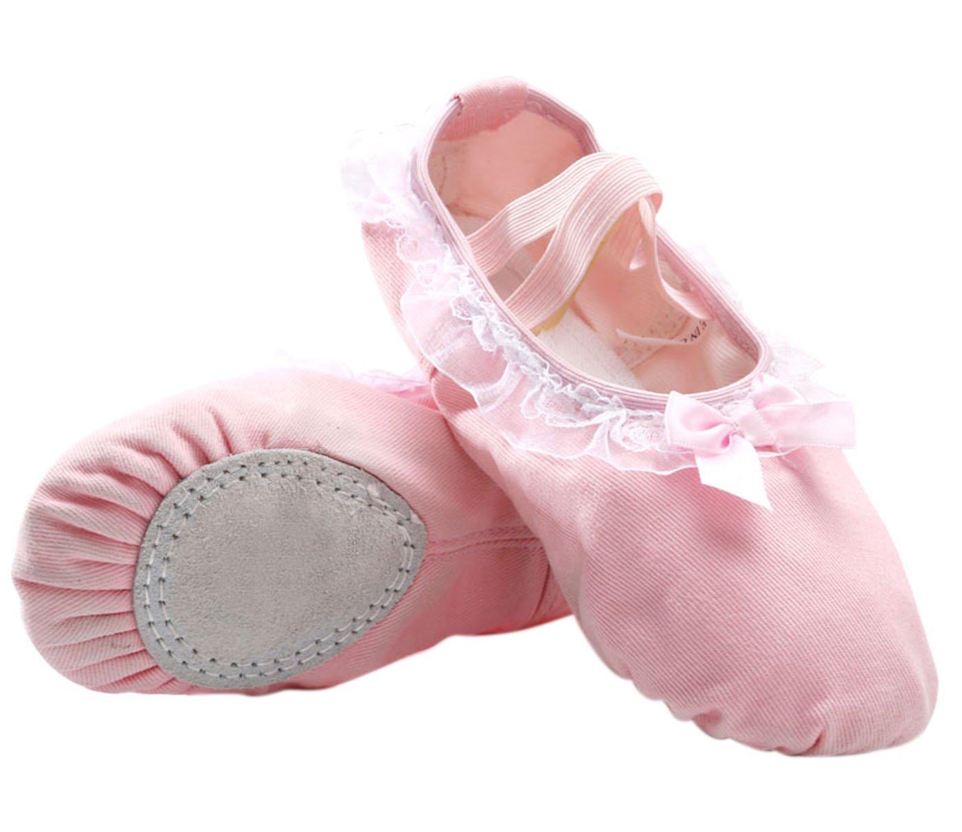 Panegy - Bailarinas Ballet Zapatillas Suela de Piel Punta Reforzada Zapatos de Danza Baile Gimnasio para Niña - EU 28 Rosa Ligero