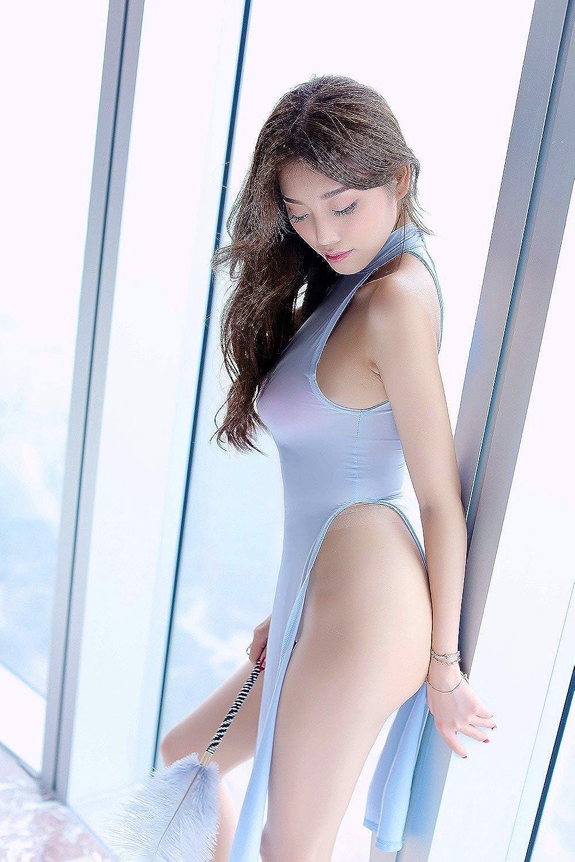 YUANMO Womens Lingerie Nightshirt Uniform Temptation Sleeveless Mini Cheongsam Sleepwear