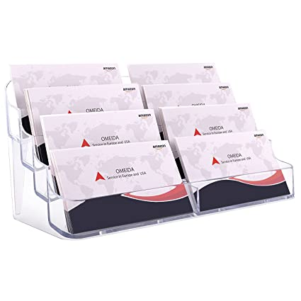 Amazon maxgear acrylic business card holder clear business maxgear acrylic business card holder clear business card stand for desk or counter 8 pocket reheart Image collections