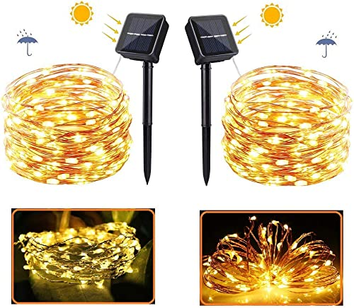 Solar Fairy Lights Outdoor Waterproof, 2 Pack 8 Modes Each 72Ft 200 LED Solar Fairy Copper Wire Lights,Solar String Lights for Yard, Christmas, Patio, Wedding, Party Outdoor Decorative Warm White