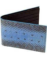 SnakeSkin Leather Wallet, BiFold, 6 Credit Card Slots, Blue