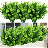 TEMCHY Artificial Plants Flowers Faux Boxwood Shrubs 6 Pack, Lifelike Fake Greenery Foliage with 42 Stems for Garden, Patio Y