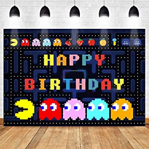 Game Background for Happy Birthday Party MEETSIOY Dark Blue Maze Backdrop for Gaming Party Banner Classic Game Color Background for Baby Shower Party Decor 7x5ft HXMT684