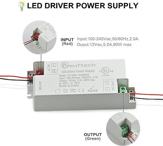 Neuftech® 12V 2A 24W Fuente de alimentación LED Transformador Driver: Amazon.es: Electrónica