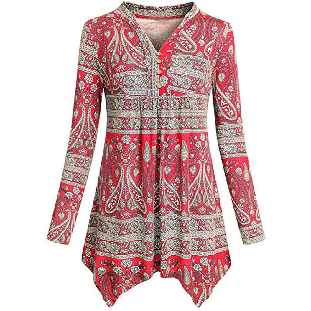 Inkach - Womens Long Sleeve Shirts SHIRT レディース B07G9XR45Q Small|レッド レッド Small