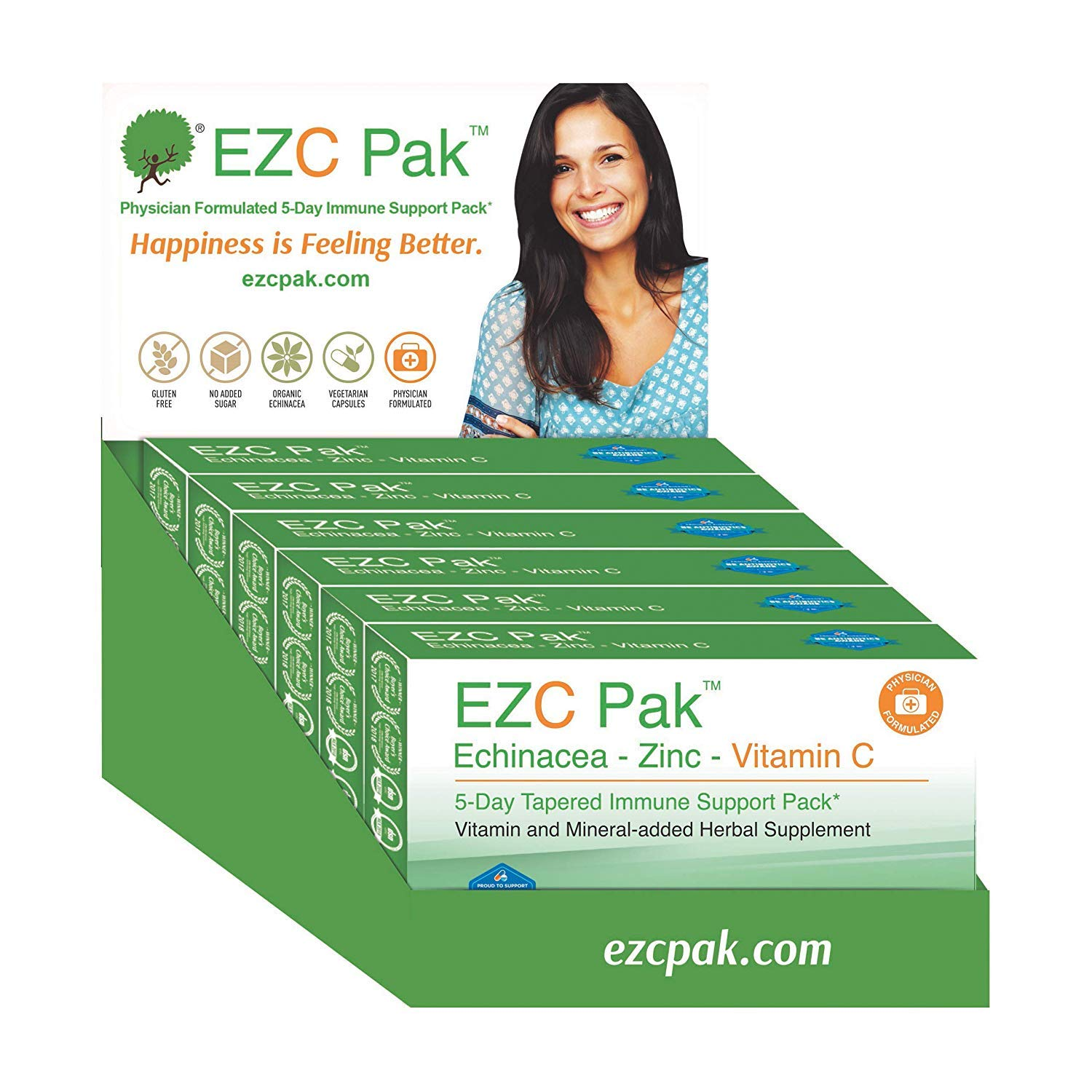 EZC Pak 5-Day Immune System Booster for Cold and Flu Relief (Pack of 6) - Echinacea, Zinc, and Vitamin C, Physician Directed 5-Day Tapered Immune Support Dose Pack by EZC Pak