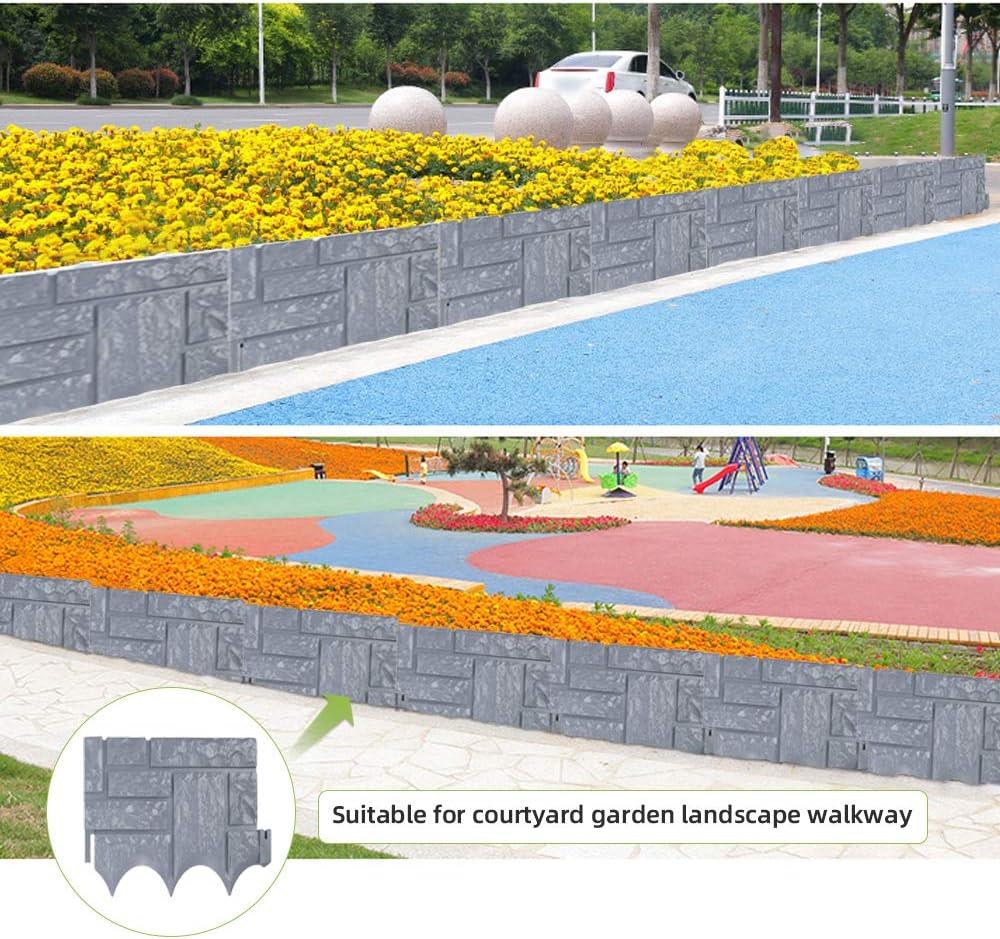 Kotooe 6pcs Garden Edging Set Plastic Fence Edging Plant Border Imitation Stone Brick for DIY Decorative Patios Lawn Paths Landscape Walkways Flower Beds Border Liner 10.2 x 9 Gray