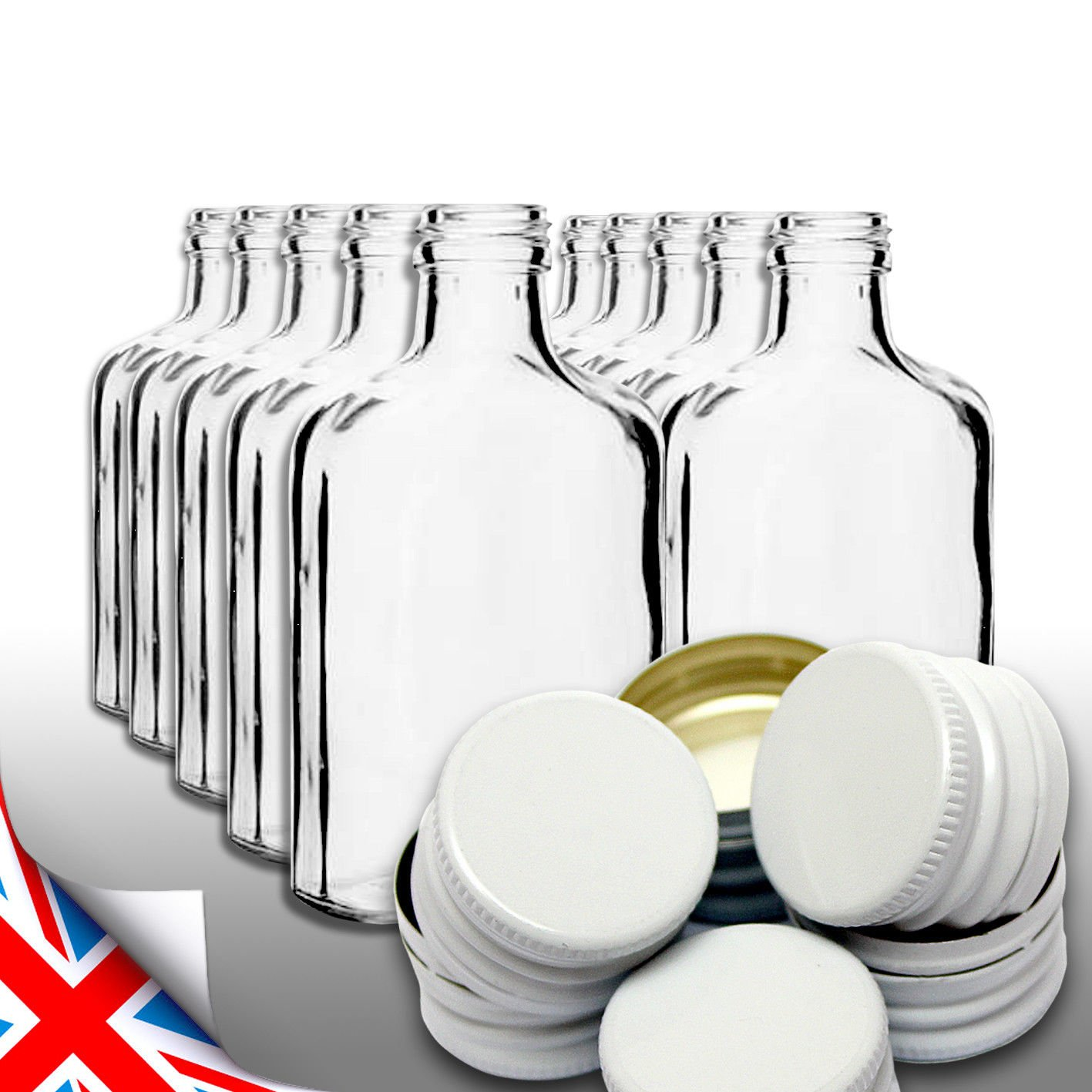 Brand 10 pocket flask bottles 200ml for wine, whisky or spirits with WHITE screw caps Biowin