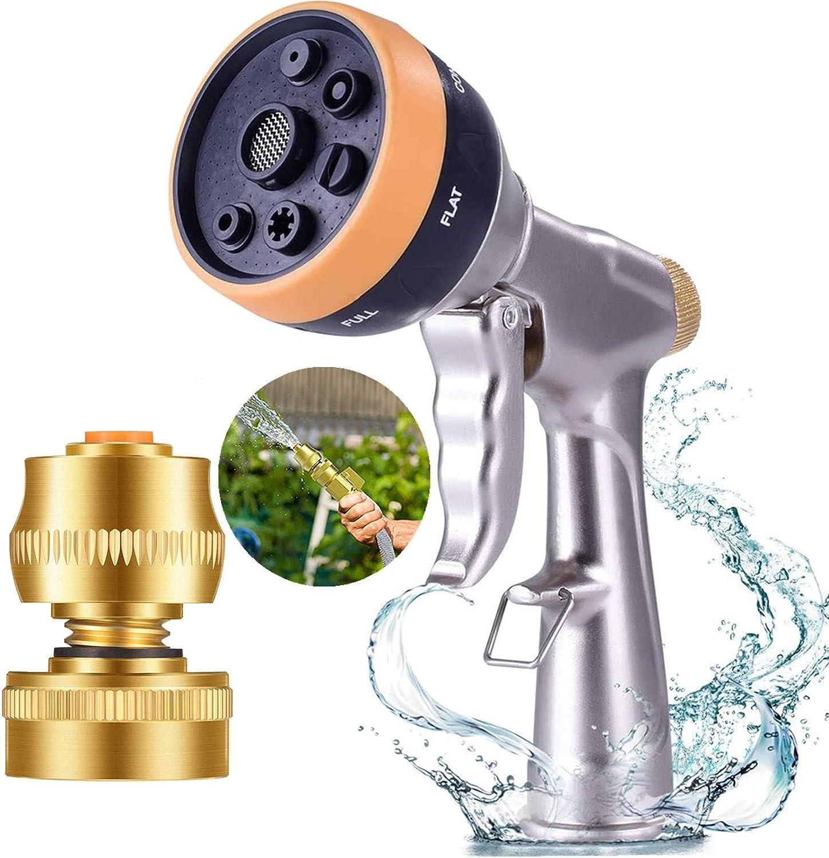 Sunifier Garden Hose Nozzle Sprayer Heavy Duty Water Hose Sprayer Nozzle Metal High Pressure Hose Nozzle for Garden Hose in Lawn And Garden, Car Washing - Round head