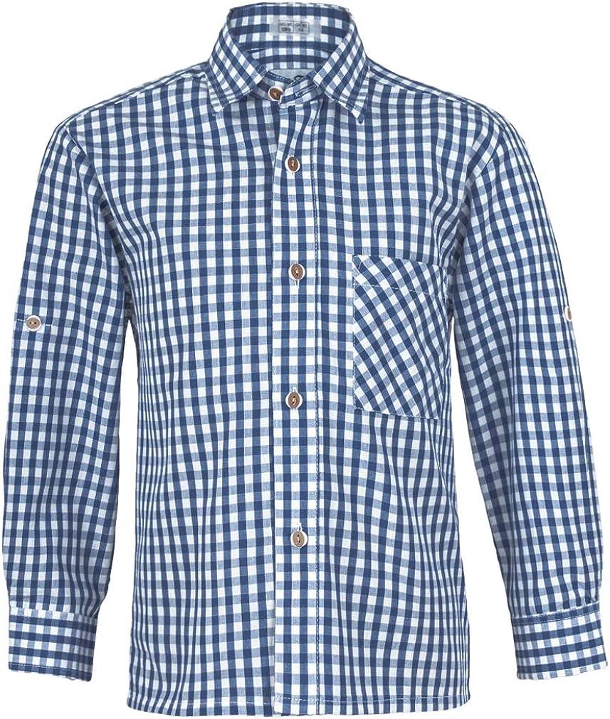 Kinderhemd aus Baumwolle Isar-Trachten Kinder Hemd Hemd kariert Gute Passform