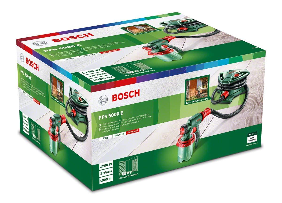 Bosch PFS 5000 E   Sistema De Pulverización De Pintura (1200 W, 2 Depósitos  Para Pintura De 1000 Ml, Boquilla Para Pintura De Paredes, Barniz, Esmalte,  ...