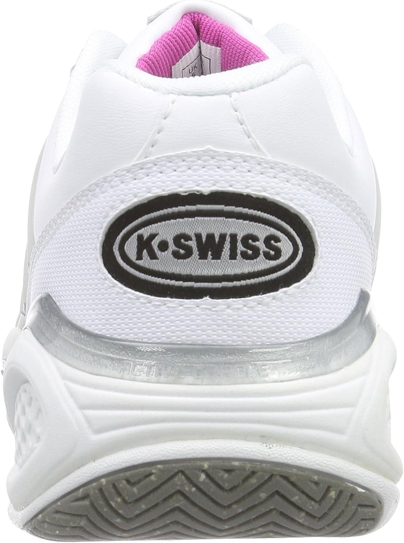 K-Swiss Womens Ks Tfw Defier Ds-wht//Ltgry//Rspbrryrse Tennis Shoes
