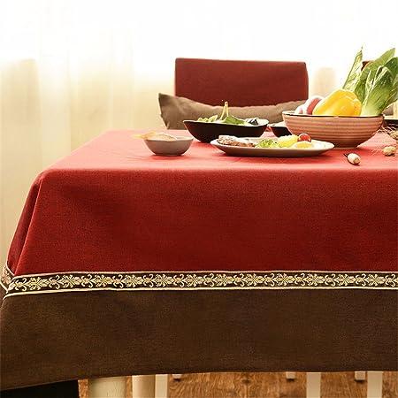 145 * 220 cm rojo burdeos marrón Patchwork Encaje Mantel lino y ...