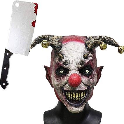 Jonami Máscara Payaso Asesino con Cabello, Mascara Halloween Terror de Látex, Traje Cuchilla de Carnicero Espeluznante para Disfraz Adulto de Fiesta ...